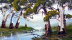 Painting of gum trees and creek