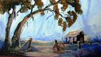 Painting bushmans hut